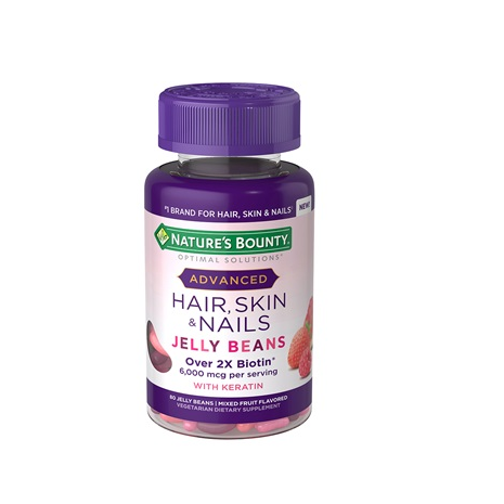 Nature's Advanced Hair, Skin & Nails Jelly Beans 6,000 mcg of Biotin -  80 Jelly Beans